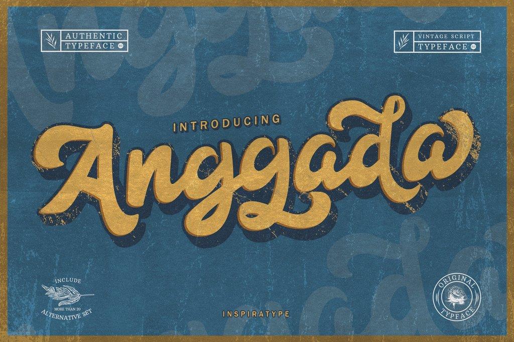 Anggada FREE Font 復古手繪字型下載