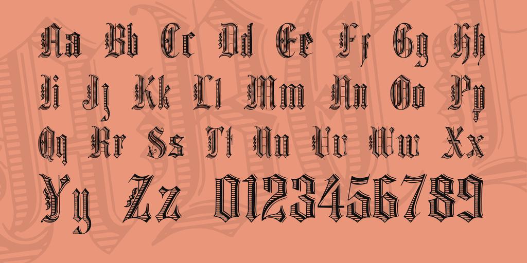 Grafik Text Font 哥德條紋字型下載