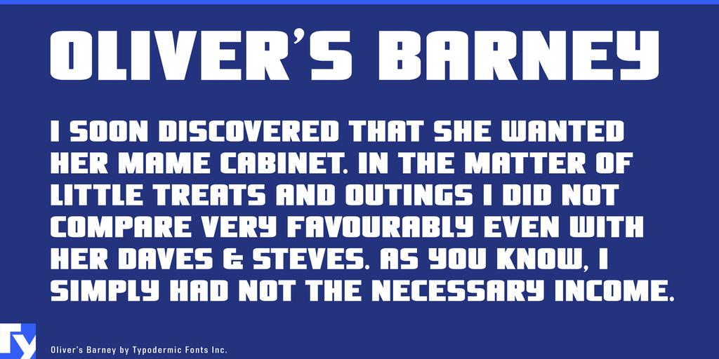 Oliver's Barney Font 海報標題字型下載