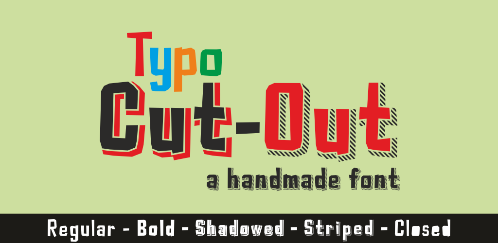 Typo Cut-Out Demo Font Family 立體剪紙字型下載