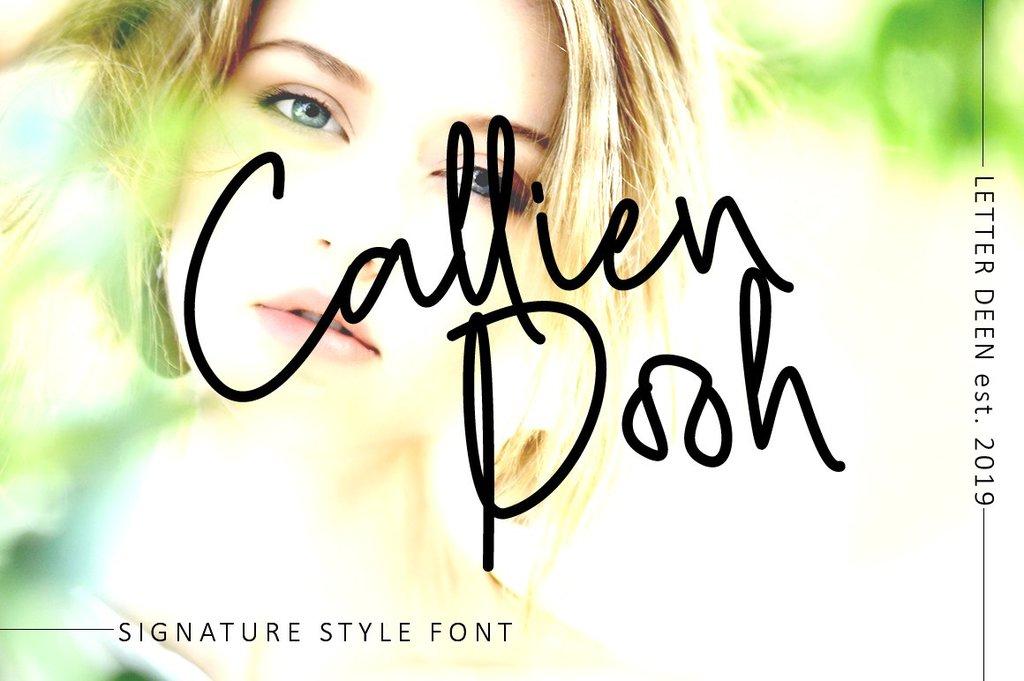 Callien Pooh Font 甜美簽名字型下載