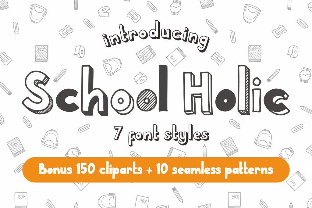 School Holic Font Family 3D 陰影字型下載
