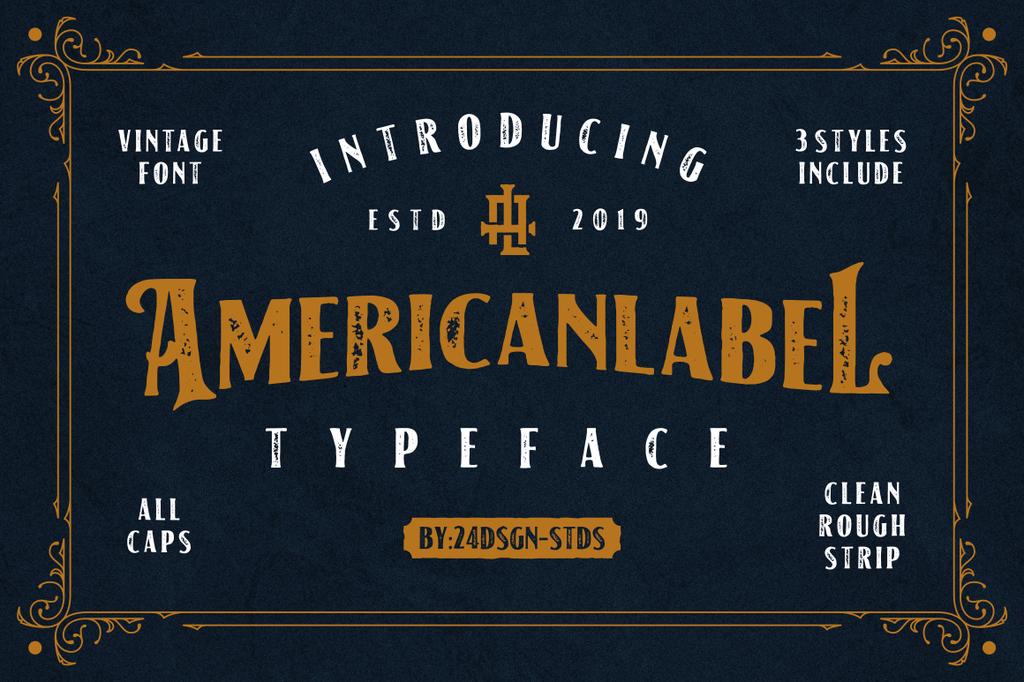 American Label Font Family 復古風格字型下載