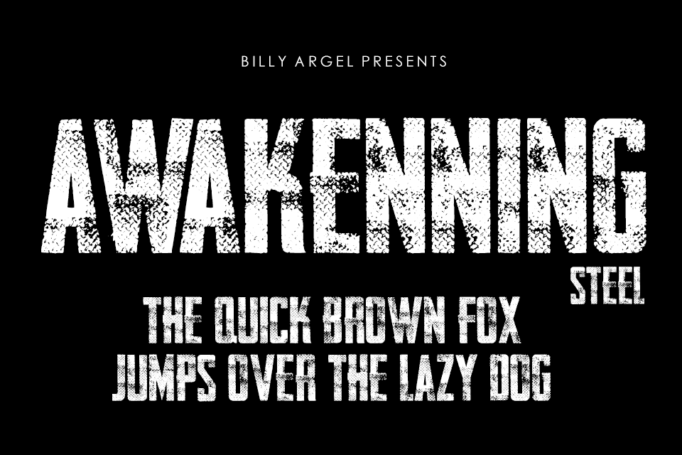 AWAKENNING STEEL Personal Use Font 鋼板印刷字型下載