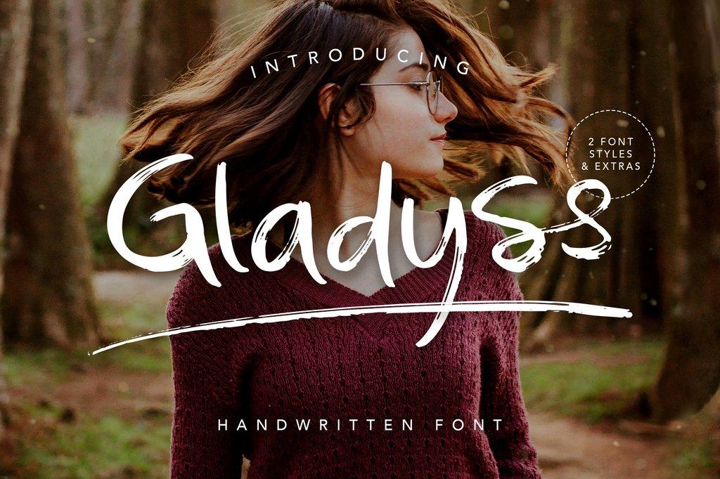 Gladyss Font Family 手寫筆刷字型下載
