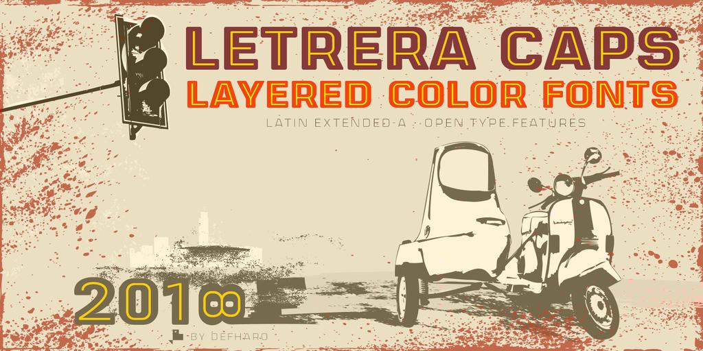 Letrera Caps Inline Font 黑色線框字型下載