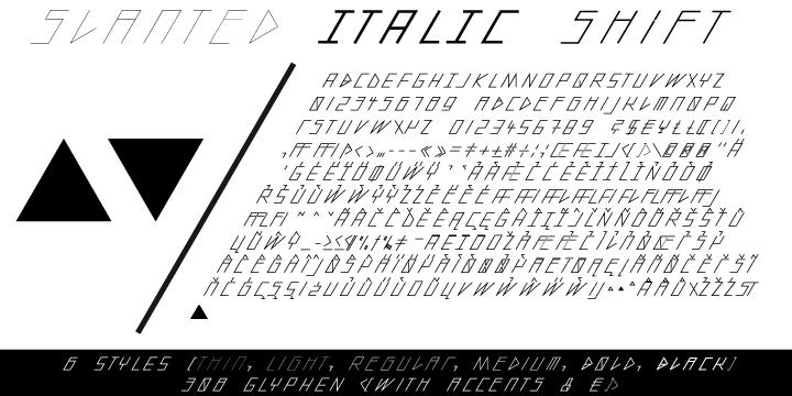 slanted ITALIC shift Font Family 超細斜體字下載 字型下載