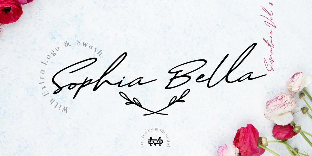 Sophia Bella DEMO Font 女士簽名字型下載
